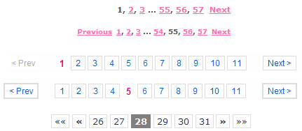 Different types of pagination menus