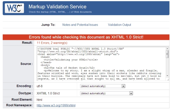 The results of validating the sample document is 11 errors