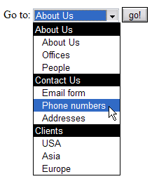 Screenshot of a menu created with a select box, including option groups