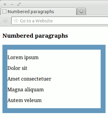 Screenshot of the Mozilla Firefox browser showing paragraph tags within a structural div container