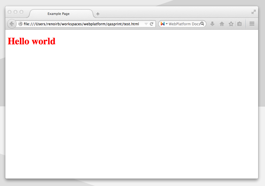 A web browser window with Hello world in red